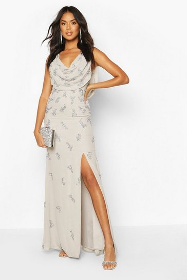 Grey Bridesmaid Hand Embellished Cowl Detail Maxi Dress