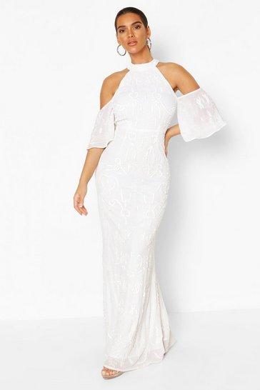 White Bridemaid Hand Embellished Cold Shoulder Maxi