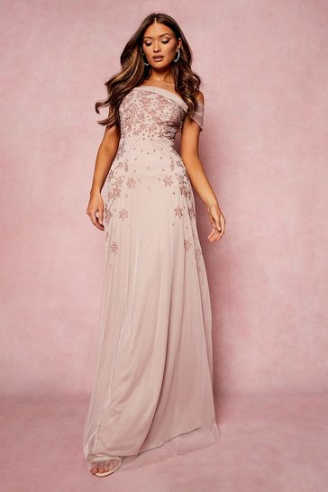 Pale pink Bridesmaid Hand Embellished Bow Detail Maxi
