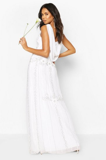White Bridesmaids Hand Embellished Cowl Back Maxi
