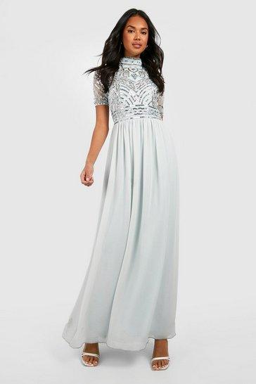 Ice blue Bridesmaid High Neck Hand Embellished Maxi Dress