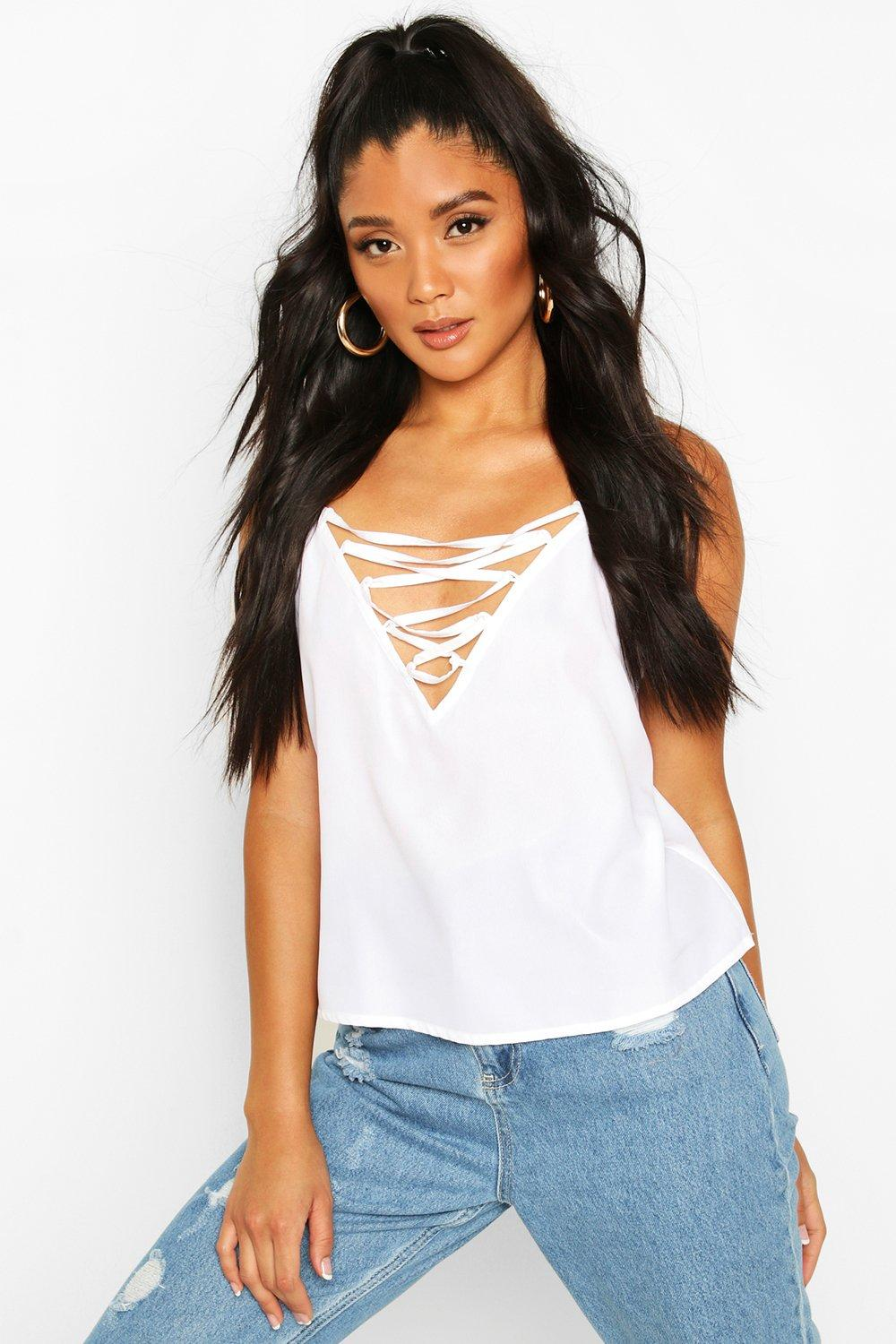 boohoo Womens Lace Up Plunge Woven Cami - White - 16, White