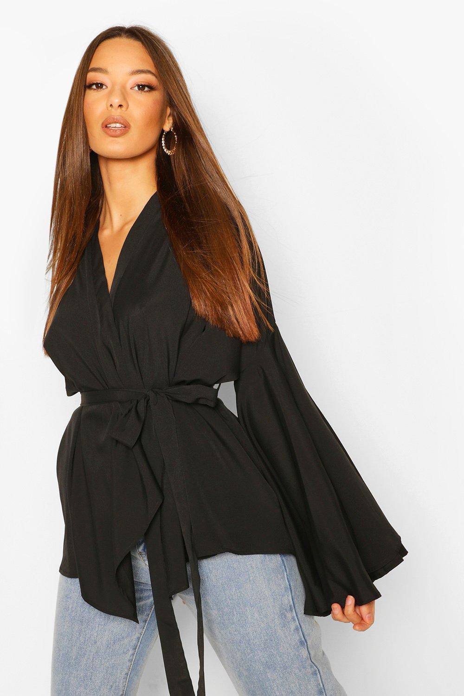 boohoo Womens Extreme Flare Sleeve Wrap Top - Black - 12, Black