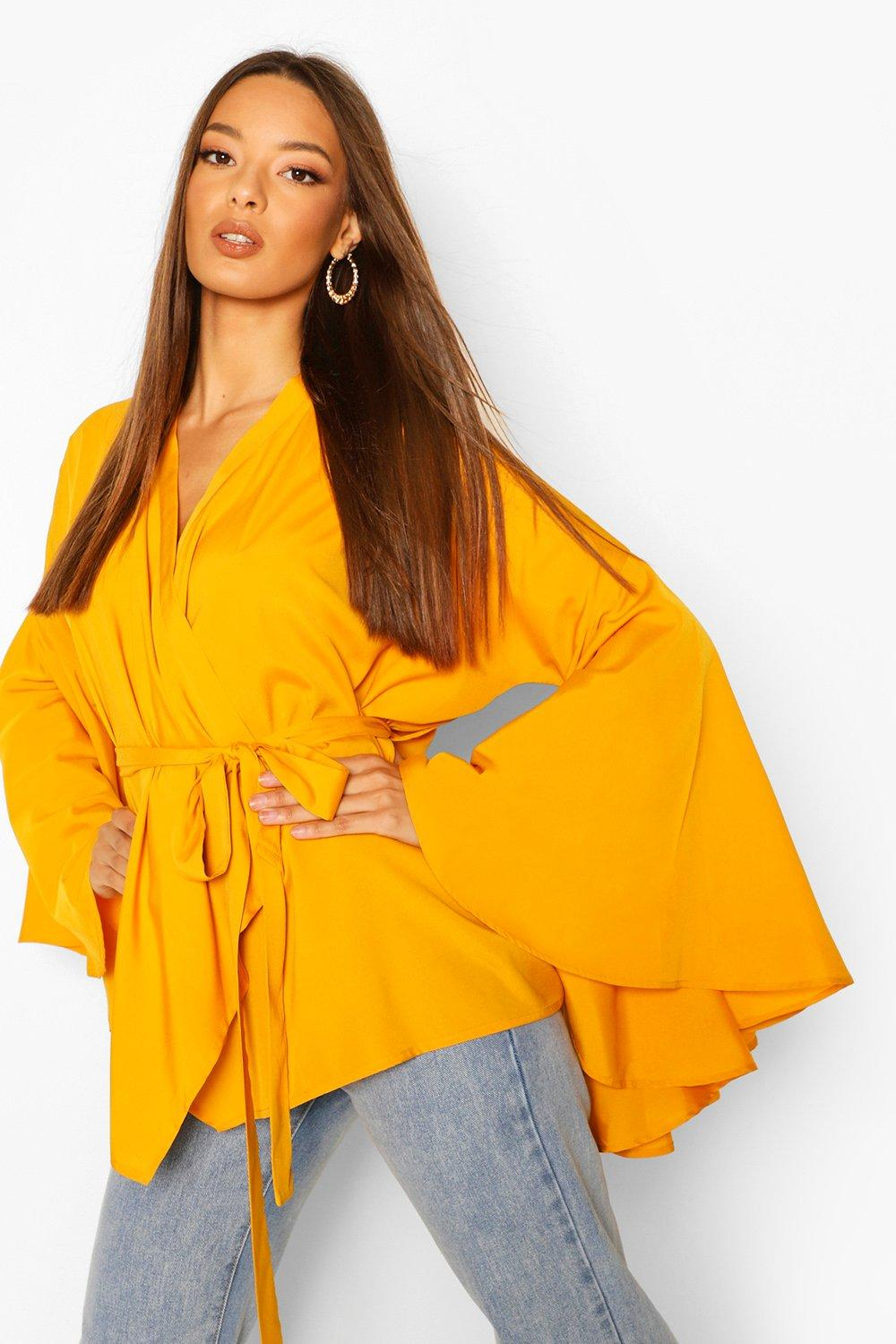 boohoo Womens Extreme Flare Sleeve Wrap Top - Yellow - 10, Yellow
