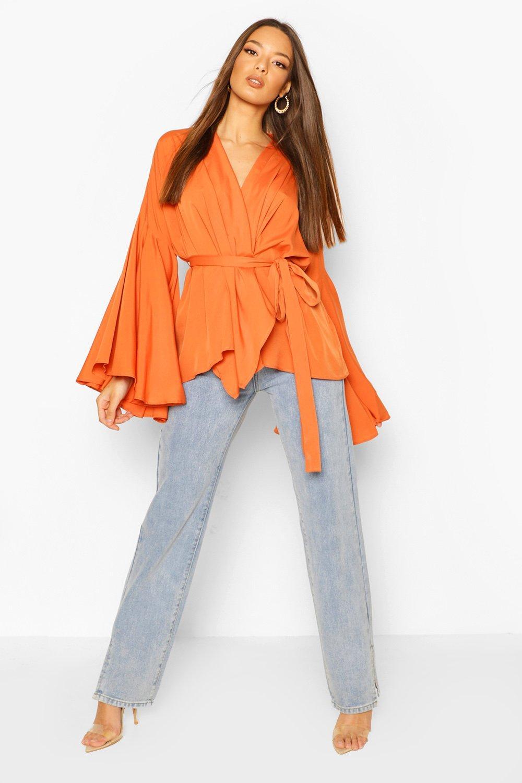 boohoo Womens Extreme Flare Sleeve Wrap Top - Orange - 10, Orange