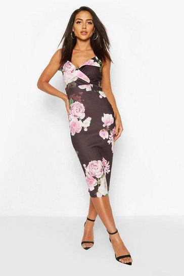 Black Floral Print Strappy Midi Dress
