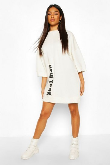 White Slogan Oversized Sweatshirt Dress