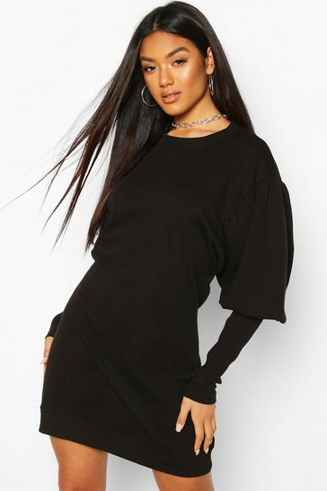 Black Puff Sleeve Extreme Cuff Sweatshirt Dress