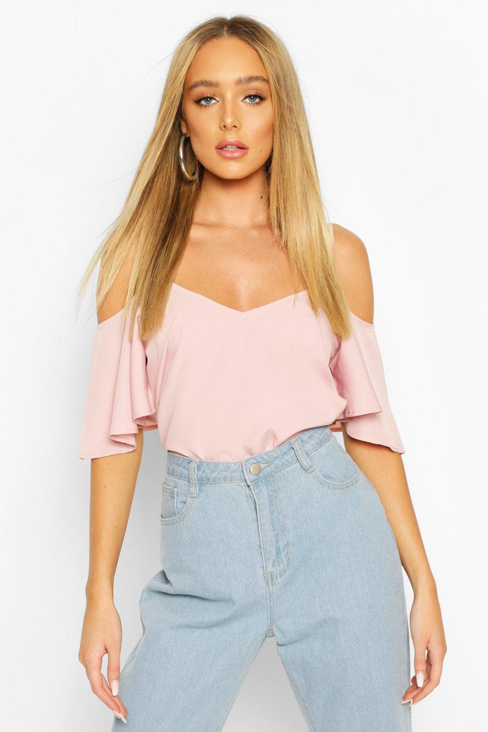 Womens Pastel Cold Shoulder Cami Top - blush - 32, Blush - Boohoo.com