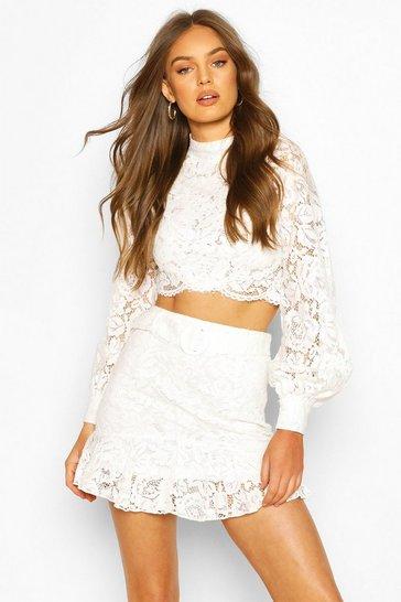 Ivory Lace Peplum Mini Skirt