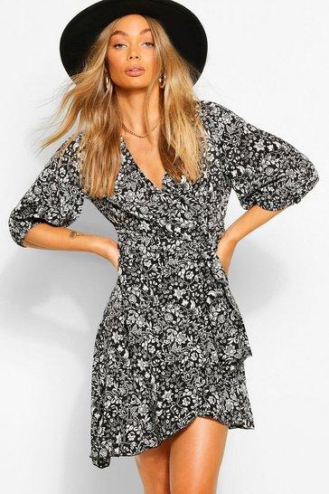 Black Puff Sleeve Floral Wrap Mini Dress