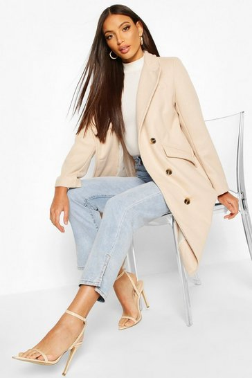 Stone Tailored Double Breasted Wool Look Coat