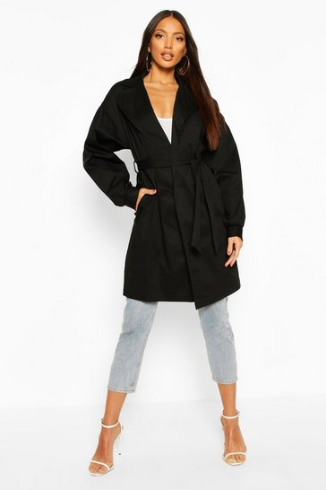 Black Extreme Sleeve Trench Coat