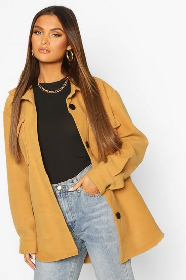 Camel Utility Pocket Wool Look Shirt Jacket