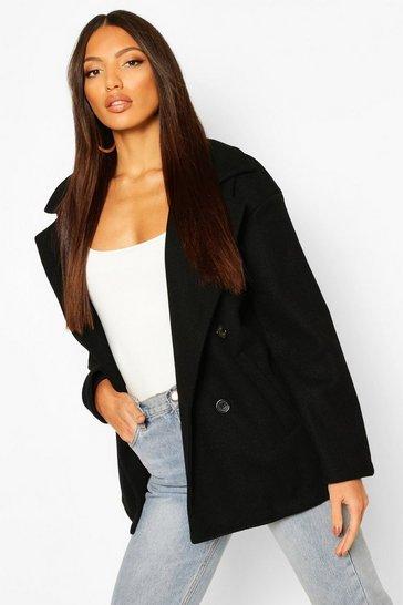 Black Double Breasted Wool Look Coat