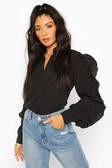 Black Woven Ruffle Sleeve Shirt