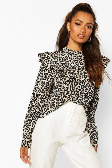 Black Leopard Print Ruffle Detail Open Back Blouse