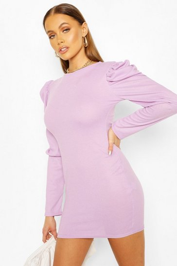 Lilac Ribbed Puff Sleeve Bodycon Dress