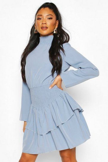 Pale blue Shirred High Neck Drop Hem Mini Dress