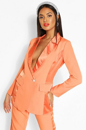 Orange Satin Panel Tailored Blazer