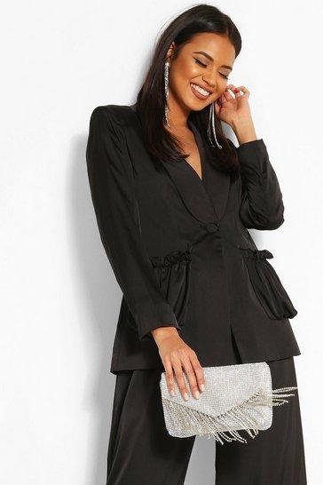 Black Woven Ruched Pocket Blazer