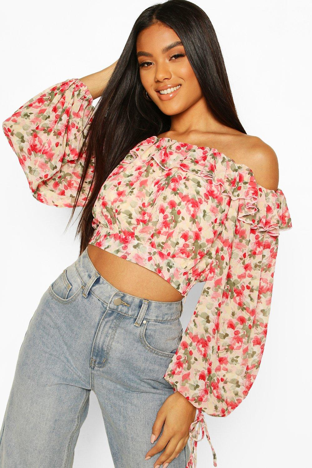 boohoo Womens Woven Floral Ruffle Off The Shoulder Top - Pink - 14, Pink