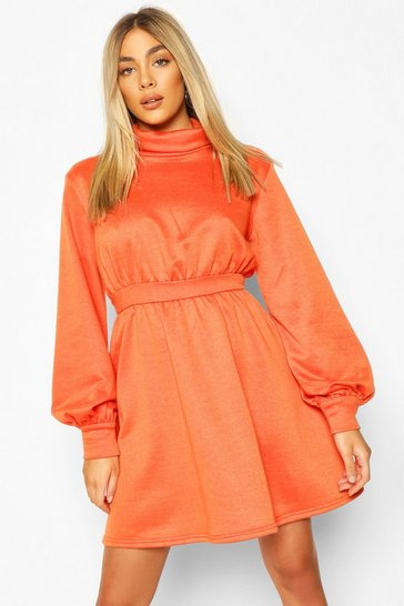 Orange Ruched Neck Blouson Sweatshirt Dress