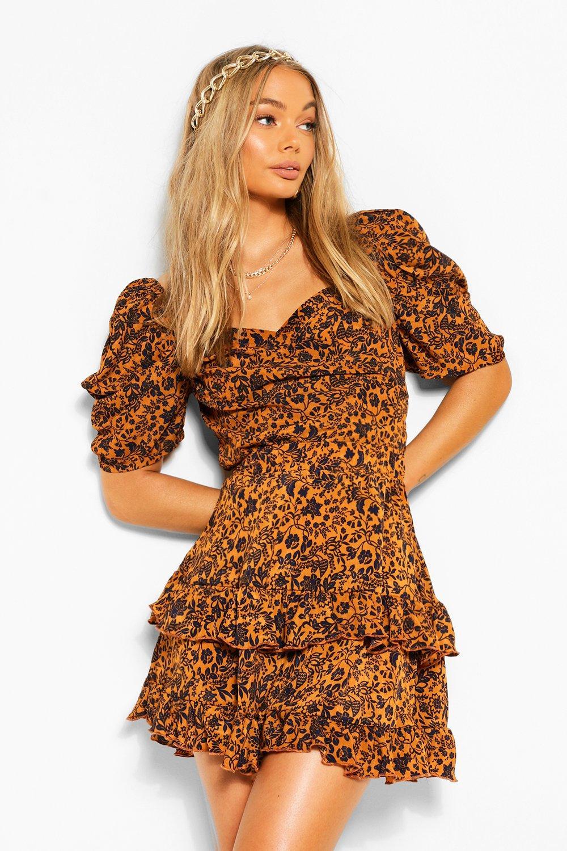 boohoo Womens Woven Printed Puff Sleeve Blouse - Orange - 6, Orange
