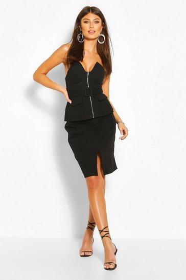 Black Utility Pocket Detail Skirt