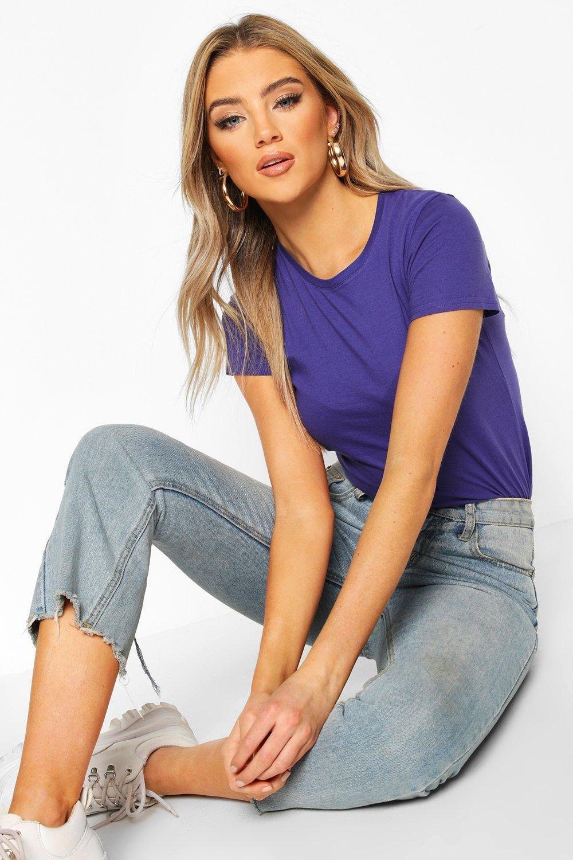 Womens 100% Cotton Crew Neck T-Shirt - indigo - S, Indigo - Boohoo.com