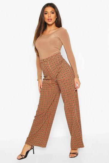 Camel Checked Pocket Front Side Leg Trousers
