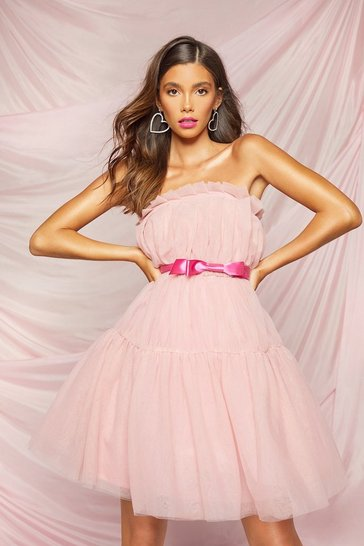 Pink Extreme Pleated Puff Skater Dress