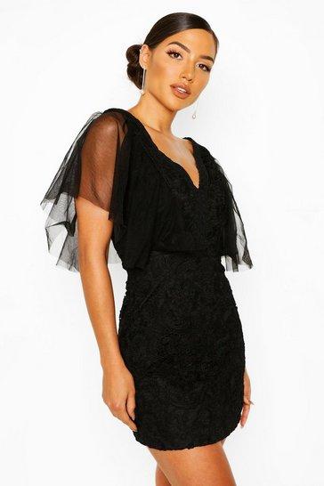 Black Heavy Lace Mesh Detail Mini Dress