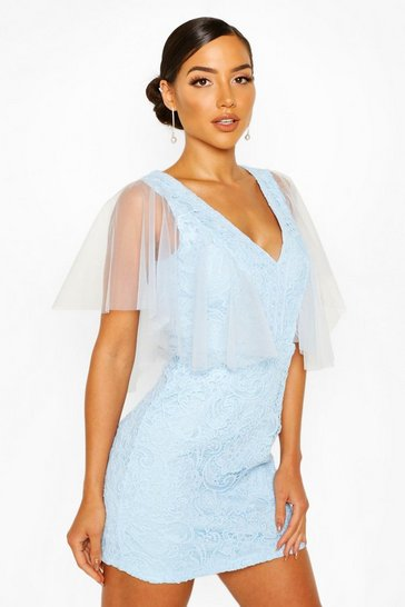 Cornflower blue Heavy Lace Mesh Detail Mini Dress