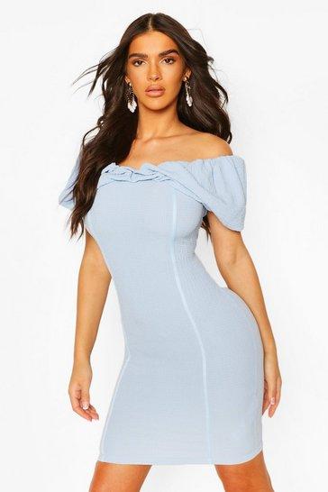 Blue Textured Bardot Rouche Front Mini Dress