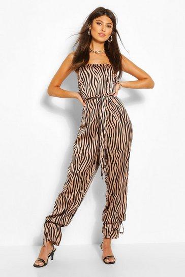 Stone Zebra Print Strapless Jumpsuit