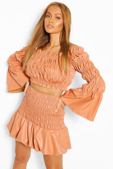 Orange Faux Leather Shirred Bardot Top