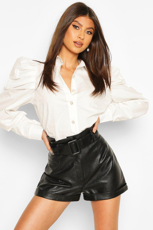 Womens Pearl Button Puff Sleeve Shirt - white - S, White - Boohoo.com