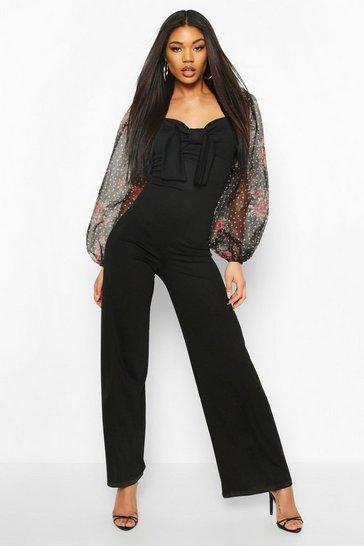 Black Floral Polka Dot Mesh Tie Front Jumpsuit