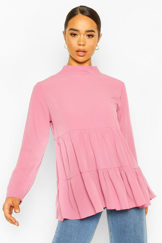 boohoo Womens Woven Smock Tunic Top - Pink - 14, Pink