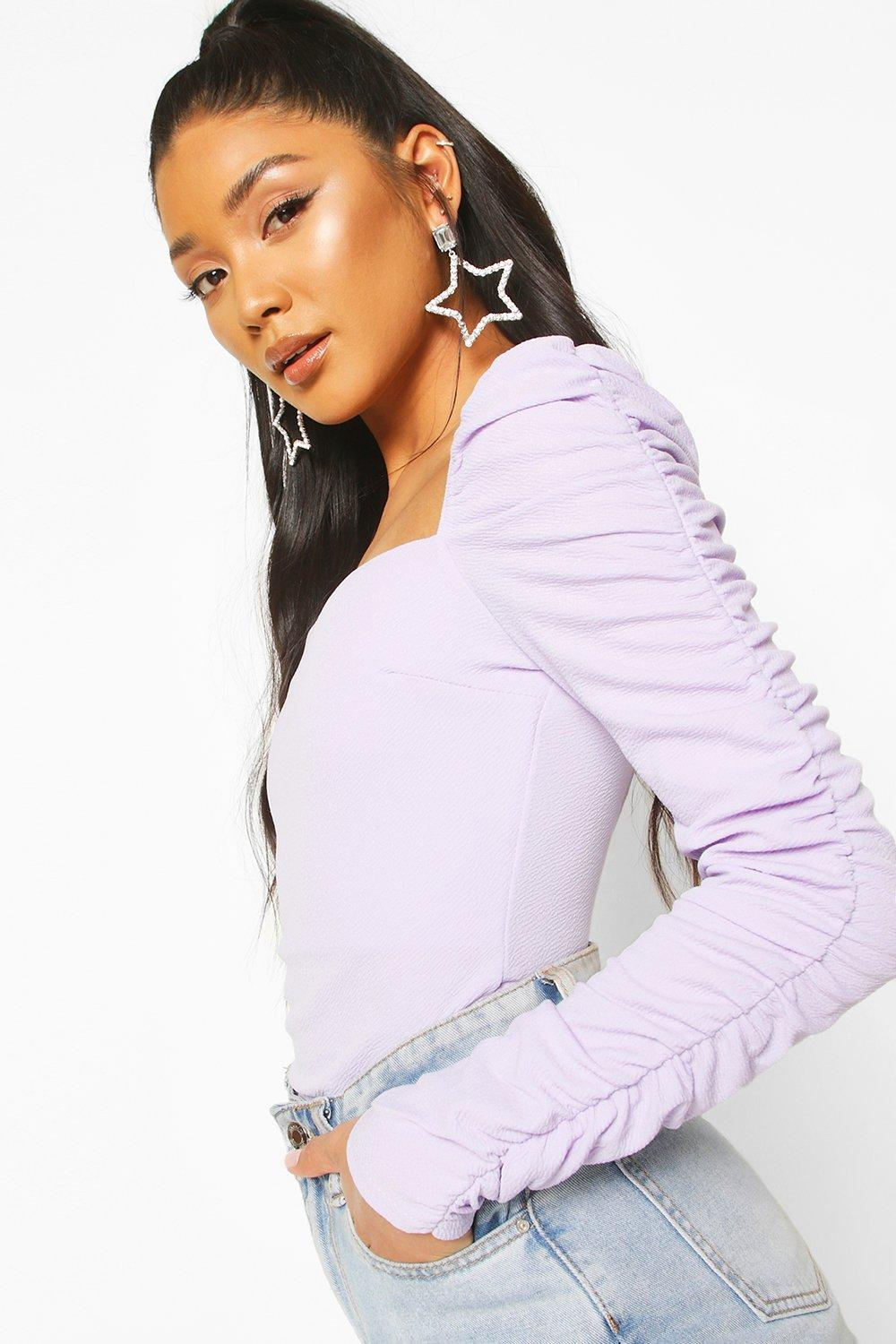 boohoo Womens Crepe Square Neck Ruched Sleeve Top - Purple - 16, Purple