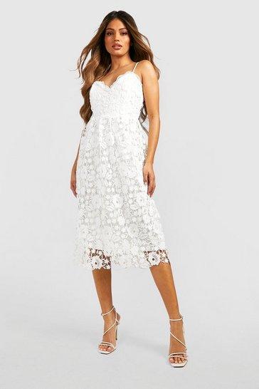 White Strappy Crochet Lace Skater Midi Dress