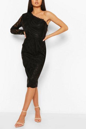 Black One Sleeve Corded Lace Bodycon Midi Dress