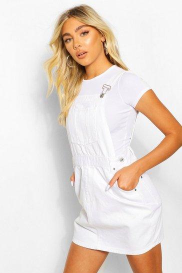 White Denim Pinafore Dress