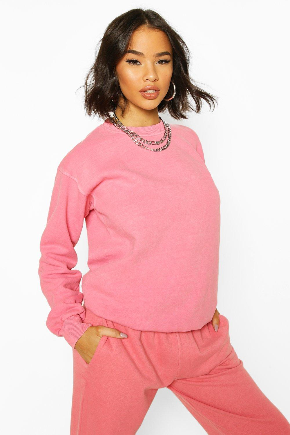 boohoo Womens Washed Oversized Sweat - Pink - M, Pink