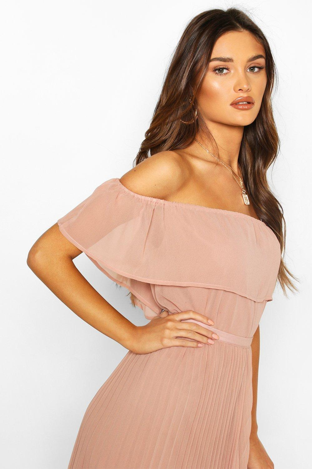 boohoo Womens Chiffon Ruffle Off Shoulder Mix And Match Top - Pink - 14, Pink
