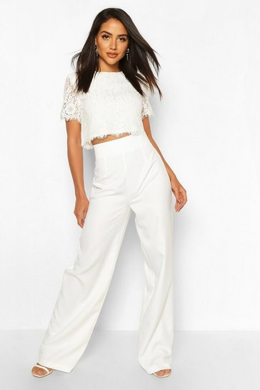 White Woven Lace Top And Trouser Co-ord Set