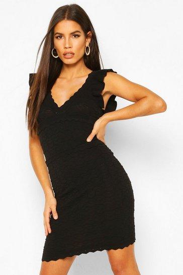 Black Premium Ruffle Pointelle Wrap Front Dress