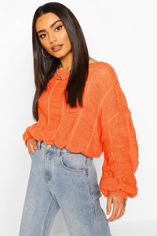 Womens Bobble Knit Jumper - orange - S, Orange - Boohoo.com