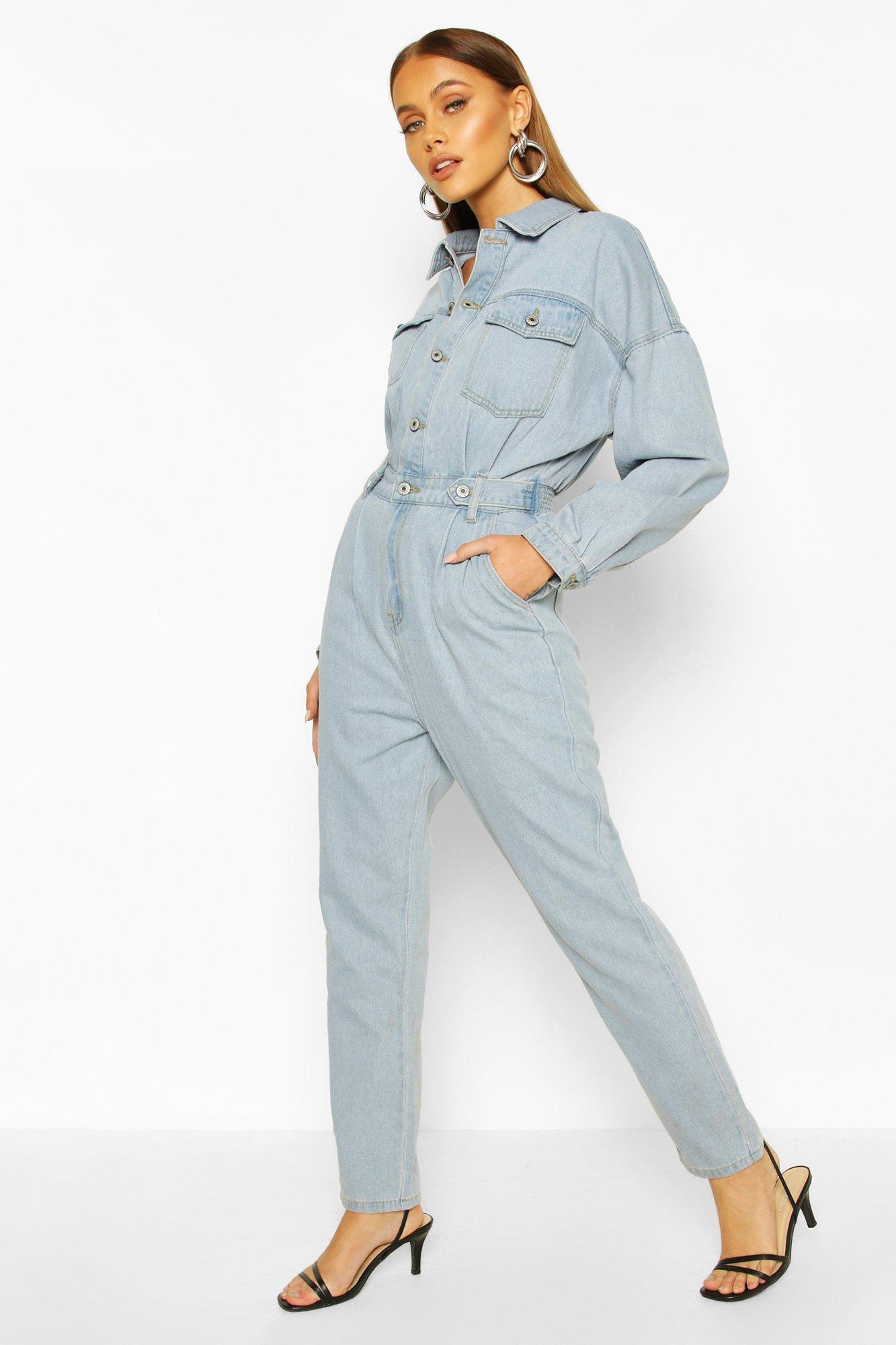 boohoo Womens Waist Detail Denim Boilersuit - Blue - 16, Blue